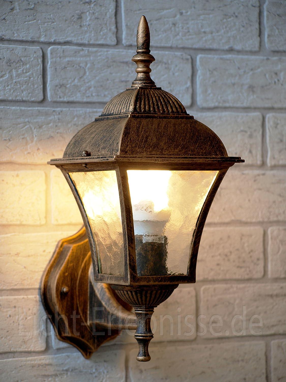Rustikale Wegbeleuchtung Garten 36cm hoch regenfest E27 Außen Wandleuchte Schwarz-Silber Balkon Hof Gold Antik