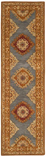 Safavieh Heritage Collection HG408A Traditional Blue and Rust Runner 2 3 x 8