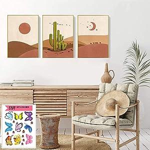 Boho Prints Mid Century Modern Wall Decor Art Prints--Boho Minimalist Abstract Canvas for Girls Room Bedroom Decor,The Desert Cacti With Sun and Moon Wall Art Printing for Dorm Living Room| UNFRAMED (12