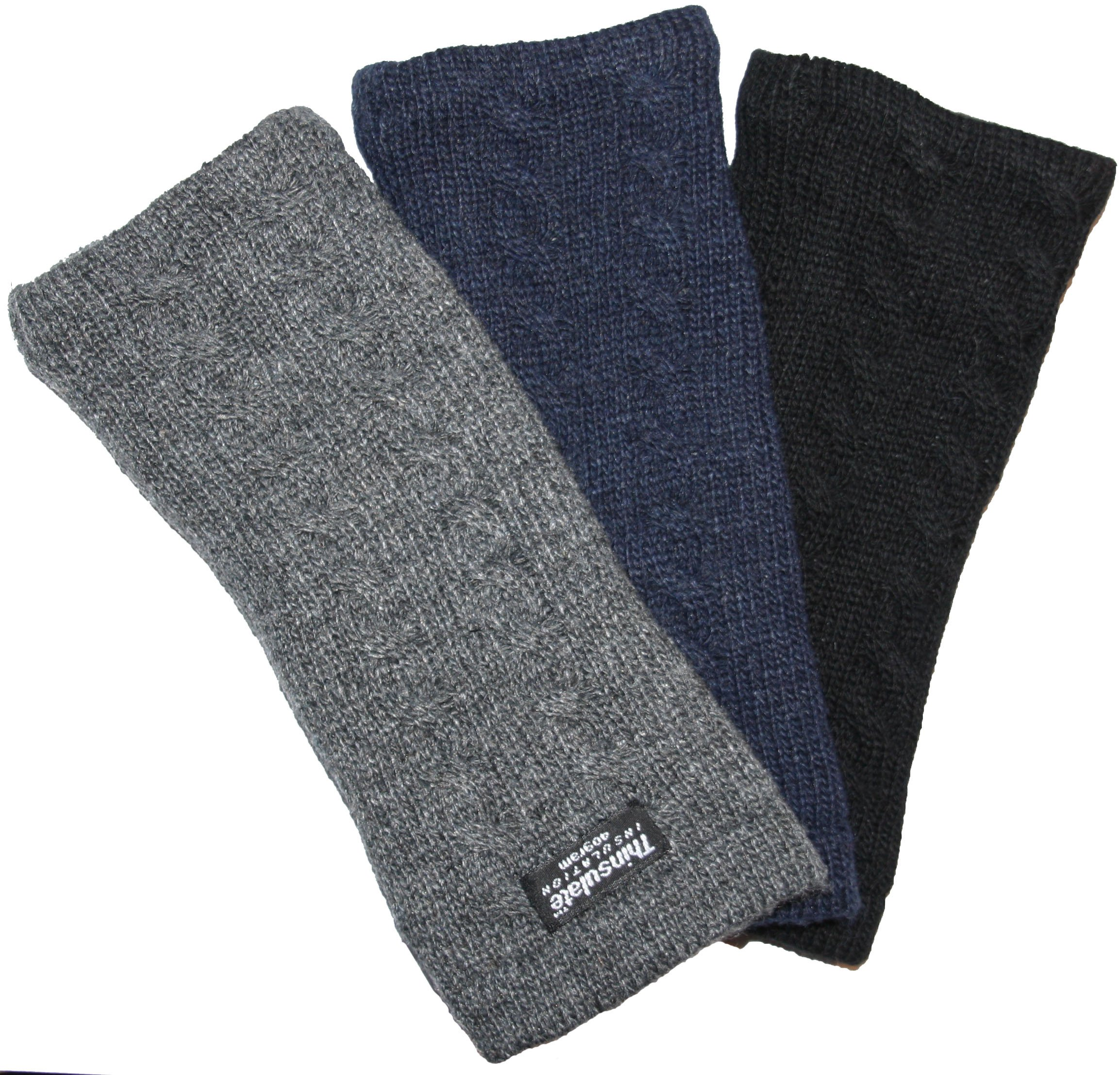 EEM knitted arm warmers DIANA made of 100% wool, Thinsulate lining, plait pattern, navy by EEM (Image #4)