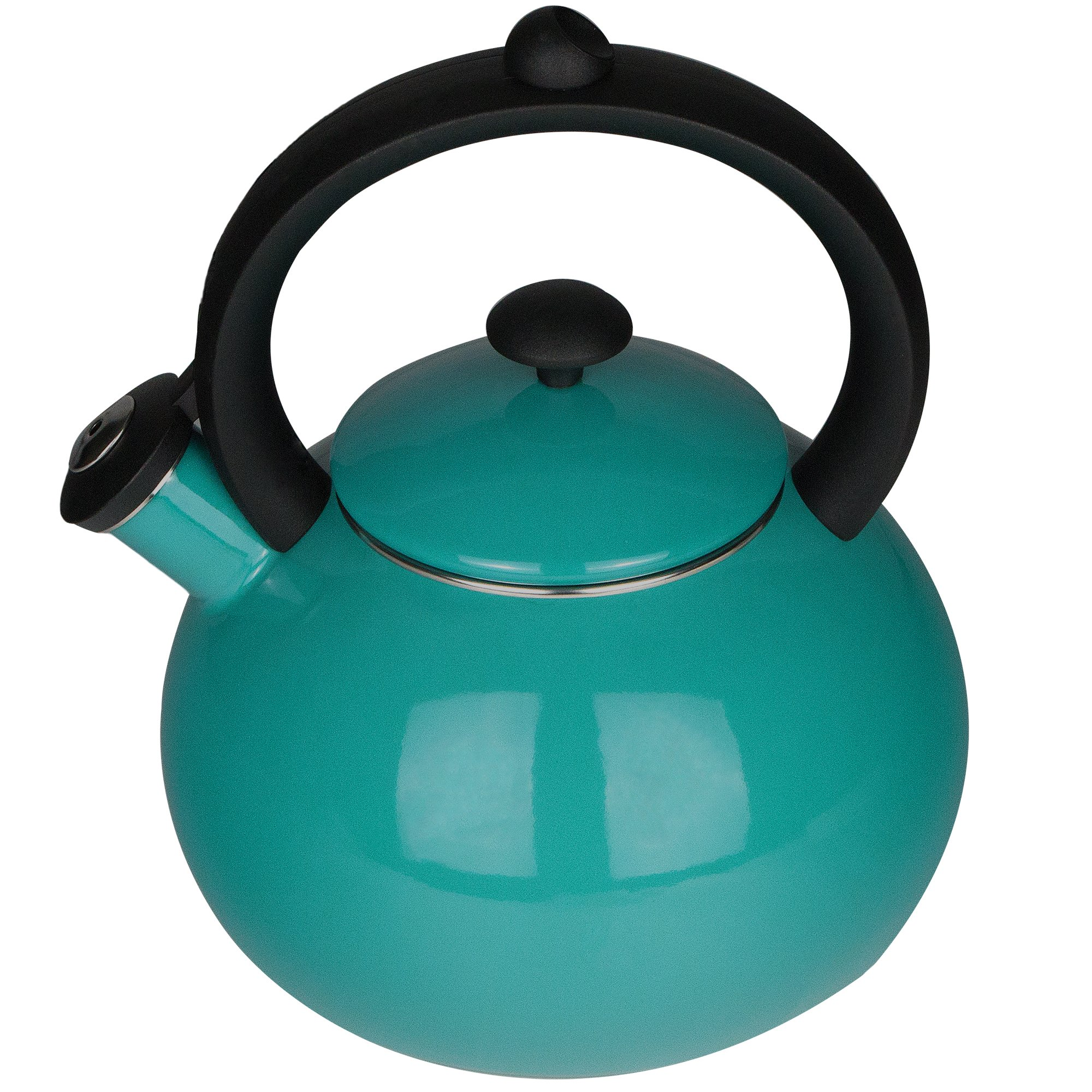 Enamel-on-Steel Tea Kettle for Stovetop - Whistling Teakettle 2-Quart Turquoise Blue Tea Pots Costa by AIDEA