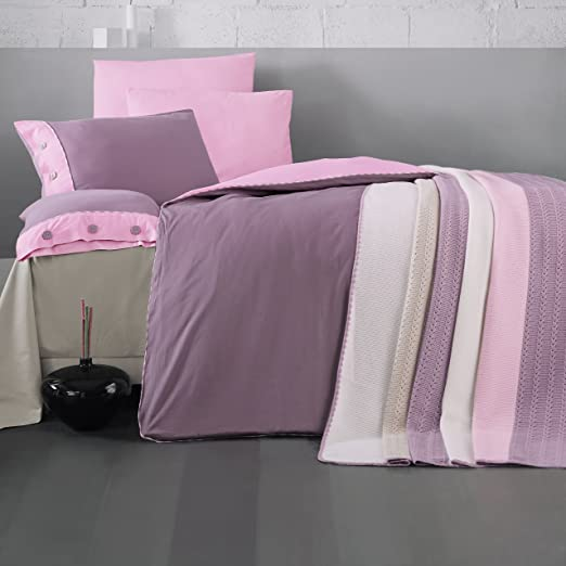 Threel Purple and Pink  Reversible 100/% Cotton Bed Linen Duvet Cover Bedding Set