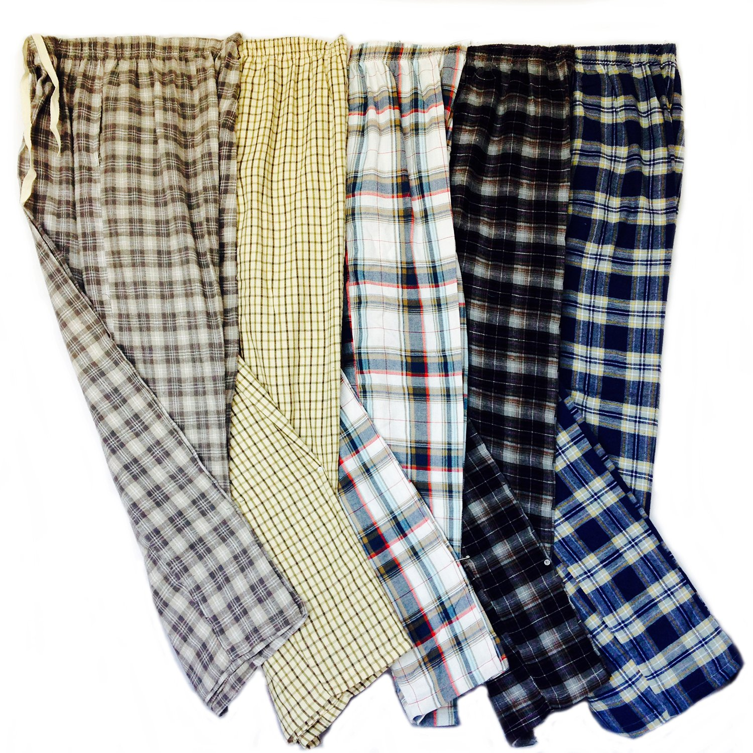 3 Pack - Mens Plaid 100% Cotton Warm Pajama Bottoms Sleepwear (3 Pants) (Medium)