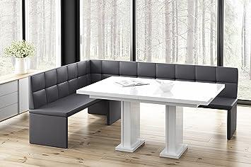 Eckbank weiß grau  Eckbankgruppe Eckbank MARTA Esstisch AGA Set Tisch Bank 128 x 168 cm ...