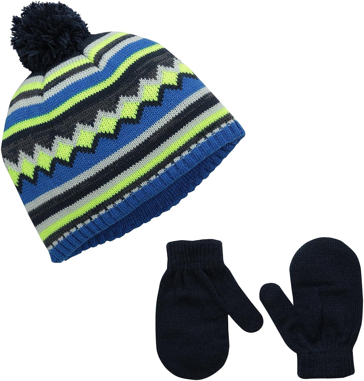 Aquarius Boys Little Blue Jaquard Pom Beanie with Gloves