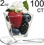 Zappy 100 Square Mini Dessert Cups 2oz Clear Tasting Sample Shot Glasses Dessert Cups & Spoons Disposable Plastic Appetizer Bowls Mini Parfait Cups Small Tumblers Tasting Glasses Dessert Shooters