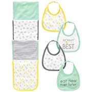 Simple Joys by Carter's Baby 8-Pack Burp Cloth and Bib Set, Lamb/Giraffe, One Size