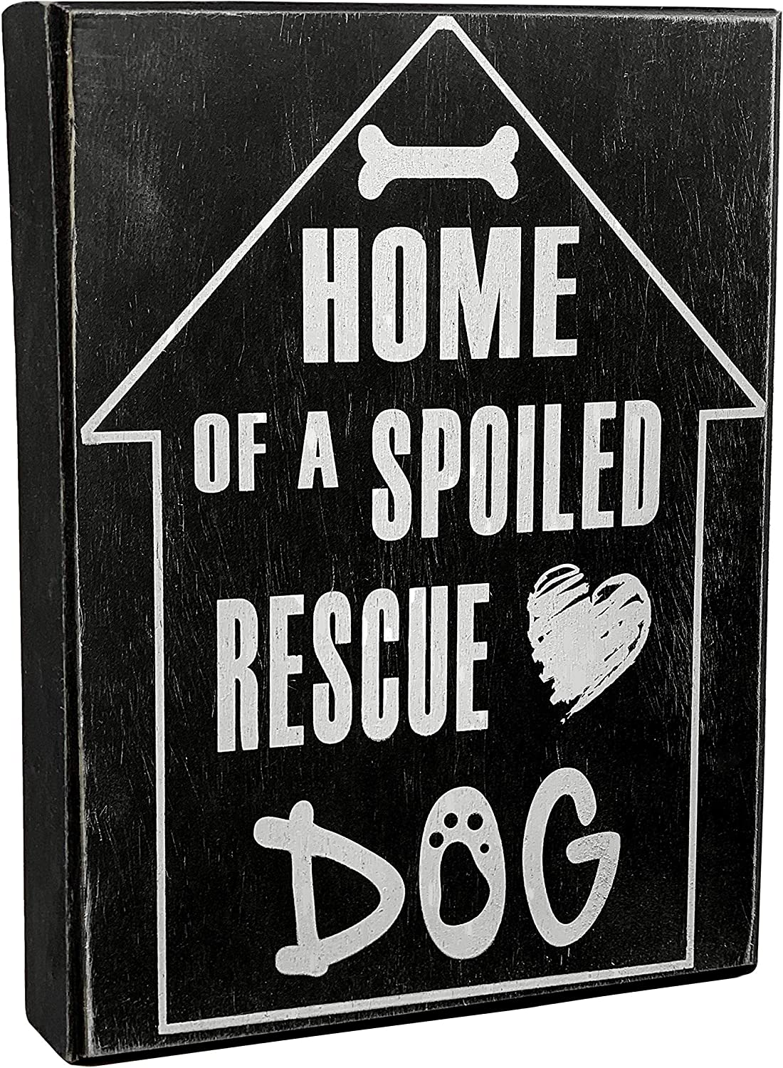 JennyGems - Home of A Spoiled Rescue Dog - Rescue Dog Decor - Shelter Dog Sign - Rescue Pet Gift - Dog Lover Sign - Dog Lover Gift, Rescue Dog Sign, Shelf Knick Knacks
