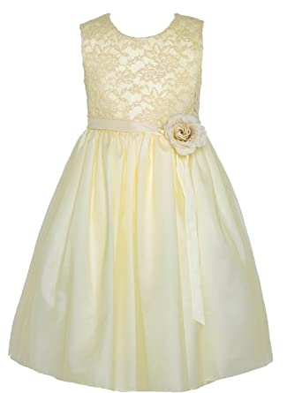aa2eef5578c Image Unavailable. Image not available for. Color  BNY Corner Flower Girl  Dress Lace Two Tone Satin Ribbon ...