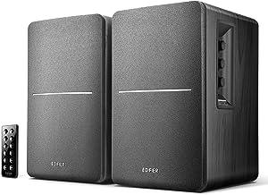 Edifier R1280DB Powered Bluetooth Bookshelf Speakers - Optical Input - Wireless Studio Monitors - 4 Inch Near Field Speaker - 42w RMS - Wood Grain (Black)