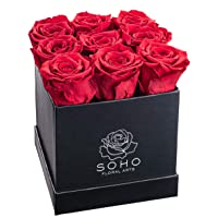 Soho Floral Arts | Real Roses That Last a Year and More| Fresh Flowers |Eternal Roses in a Box (Red 9 X-Large Roses)