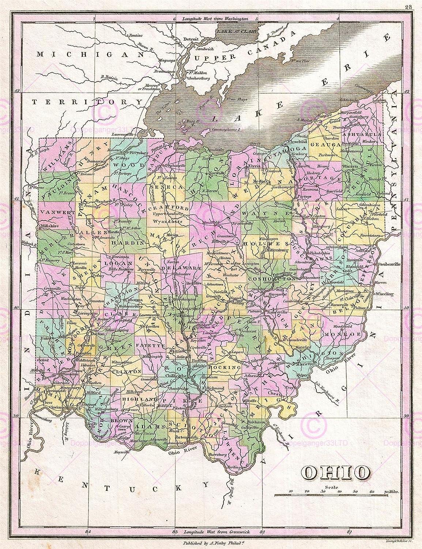 Amazon Com Doppelganger33ltd Map Antique 1827 Finley Usa State Ohio