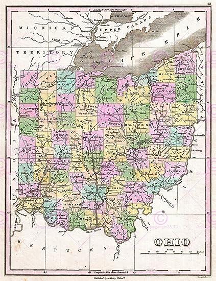 Antique Ohio Map.Amazon Com Doppelganger33ltd Map Antique 1827 Finley Usa State Ohio