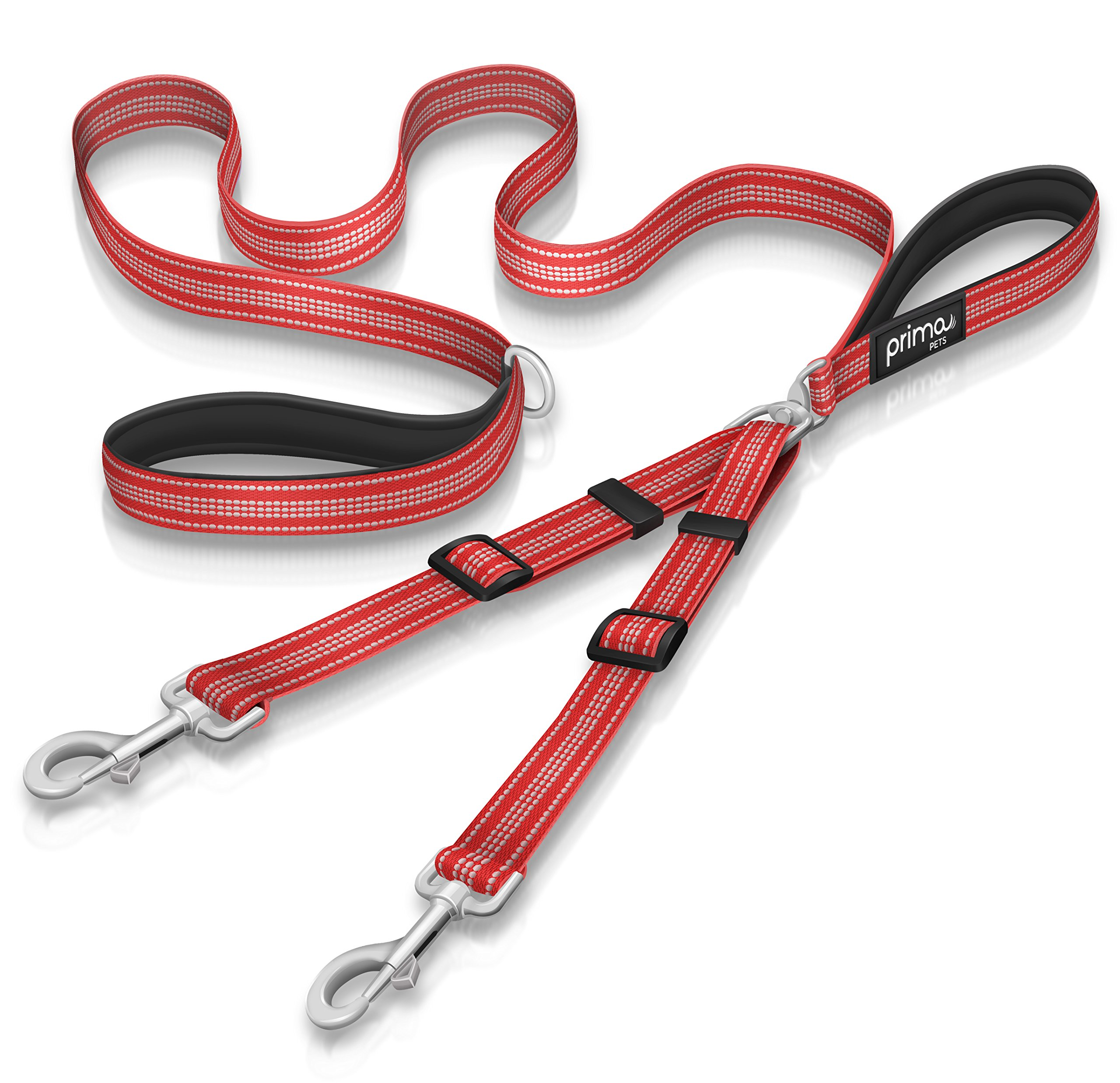 Prima Pet Premium Reflective Double Dog Leash - Adjustable Coupler - 2 Padded Handles- Great for Walking 2 Dogs / Dual Dogs - Tangle Free (LARGE - 1'' Width, 6 Feet RED) by Prima Pets