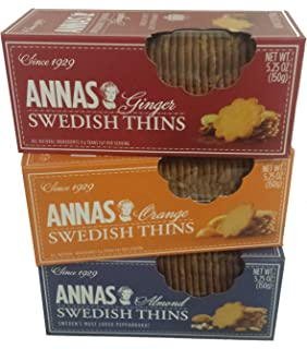 Annas Swedish Thins Assortment, Six 5.25oz boxes, 2 each of 3 flavors,