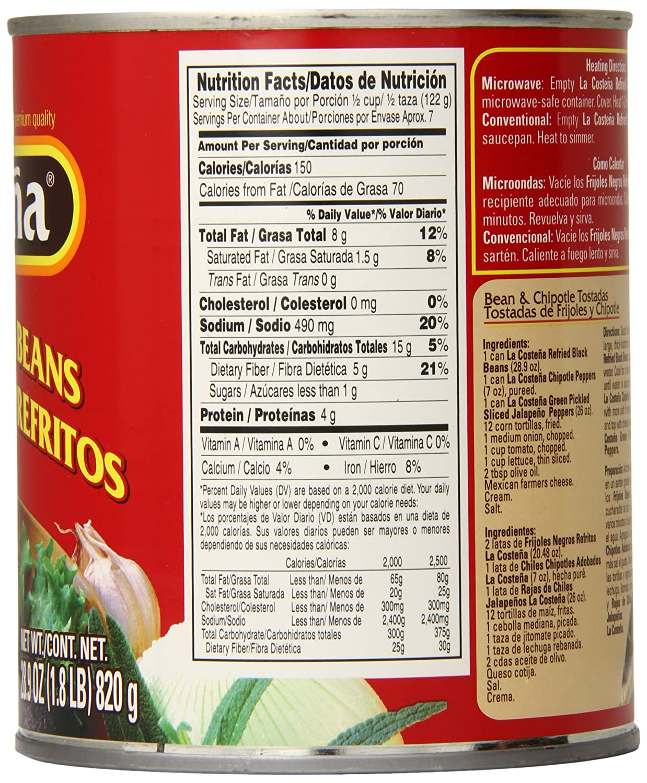 Amazon.com : La Costena Black Beans, Refried, 1.8 Pound ...