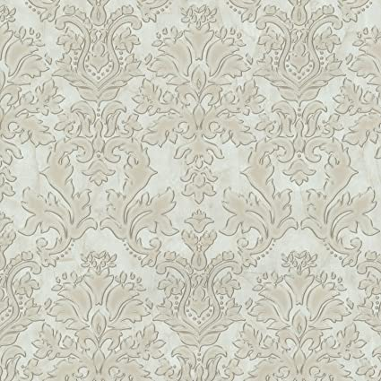 Textured Vinyl Damask Wallpaper Beige And Gold P S 02485 20