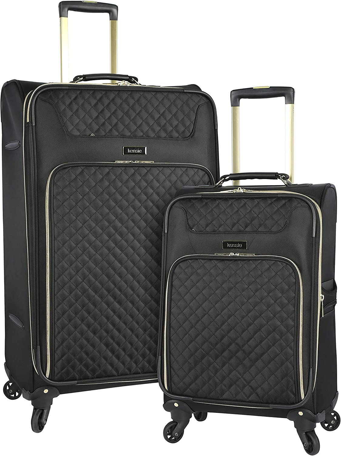 kensie 2 Piece Twill Luggage Set Black with Gold Color Option Travelers Club Luggage KN-77302-001