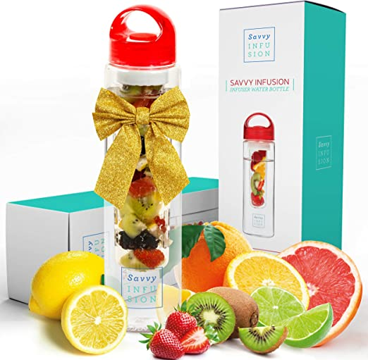 Great Gifts for Women Includes Bonus Infused Water Recipe eBook 24 Ounce Savvy Infusion Flip Top Fruit Infuser Water Bottle Unique Leak Proof Lid