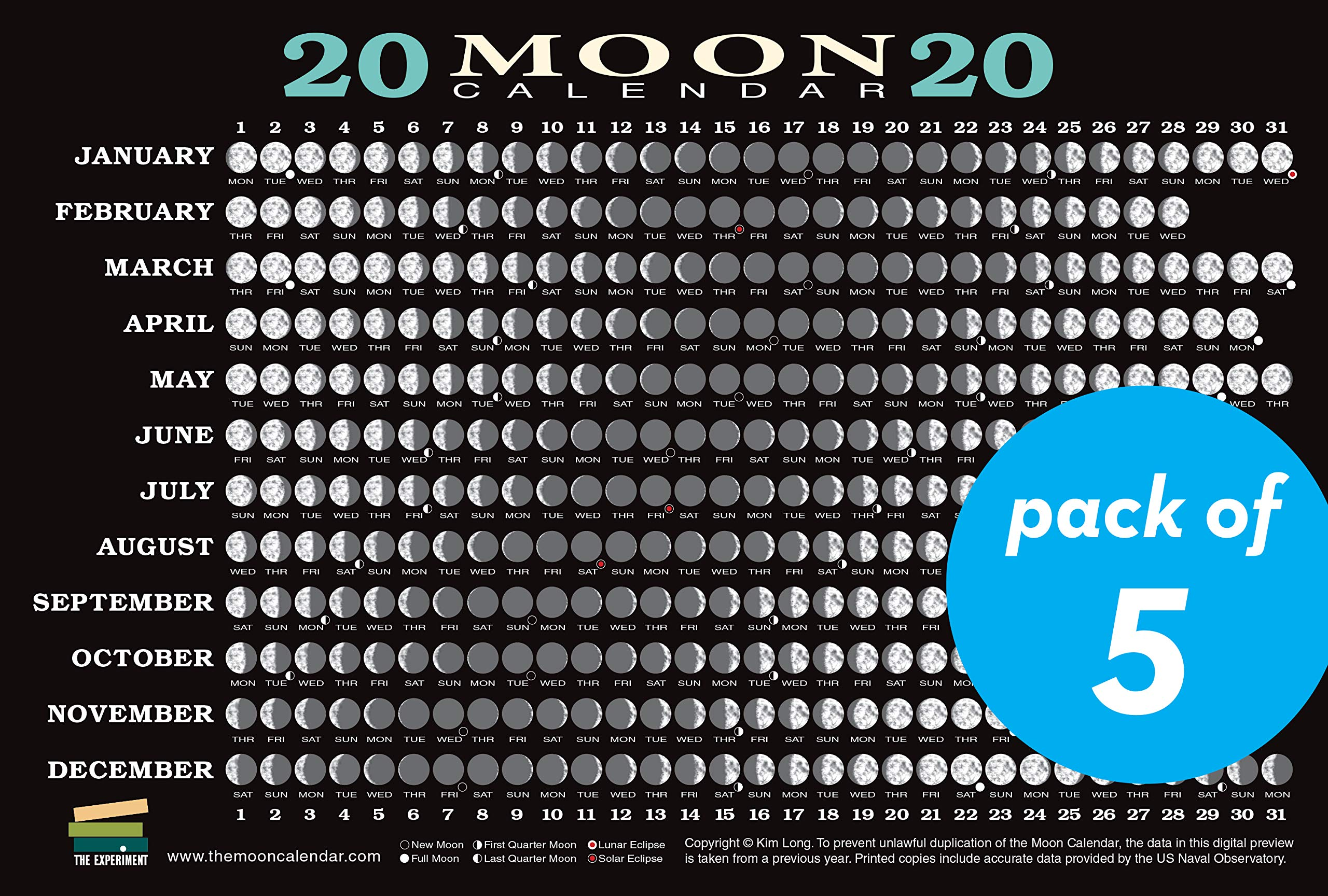 Moon Calendar For 2020 2020 Moon Calendar Card (5 pack): Lunar Phases, Eclipses, and More