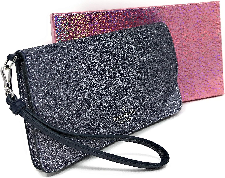 Kate Spade New York Joeley Boxed Multifunctional Wallet Wristlet Clutch Glitter Grey