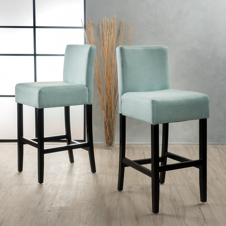 Amazon.com: Ester Sky Blue Fabric Barstool (Set of 2): Kitchen & Dining