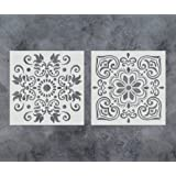 GSS Designs Pack of 2 Stencils Set (12x12 Inch) Painting for Wood Wall Furniture Floor Tiles Fabric Template - Reusable Art Painting Stencils