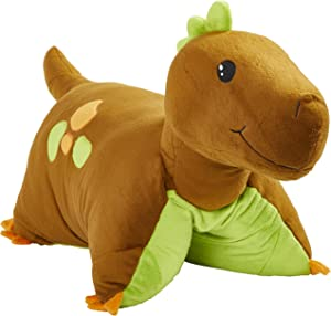 "Pillow Pets Dinosaur, Brown Dinosaur, 18"" Stuffed Animal Plush Toy"