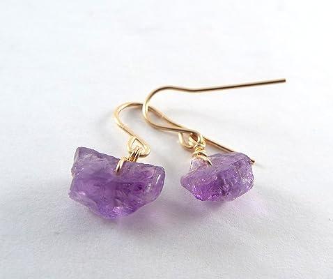 Raw Amethyst Simple Gold Earrings