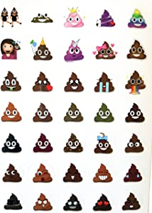 Poop Emoji Sticker Sheet Party Favor 24 Pack (576 Stickers), Poo Set. Potty Training, Journal, Favors, Office, Teachers, Scrapbooking