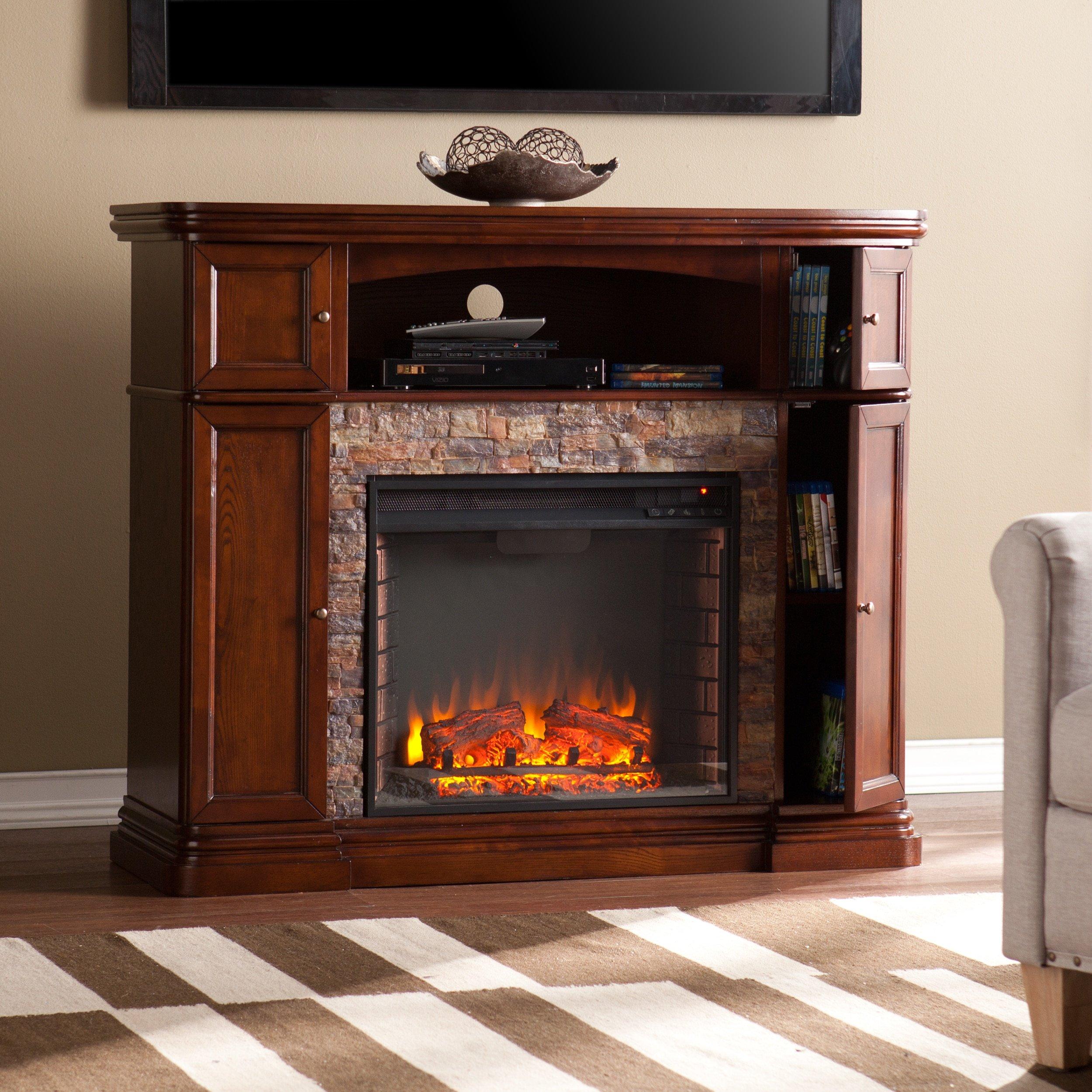 Harper Blvd Davenport Espresso Faux Stone Electric Media Fireplace by Harper Blvd (Image #2)