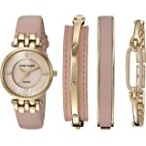Anne Klein Women's Diamond-Accented and Leather Strap Watch and Bangle Set