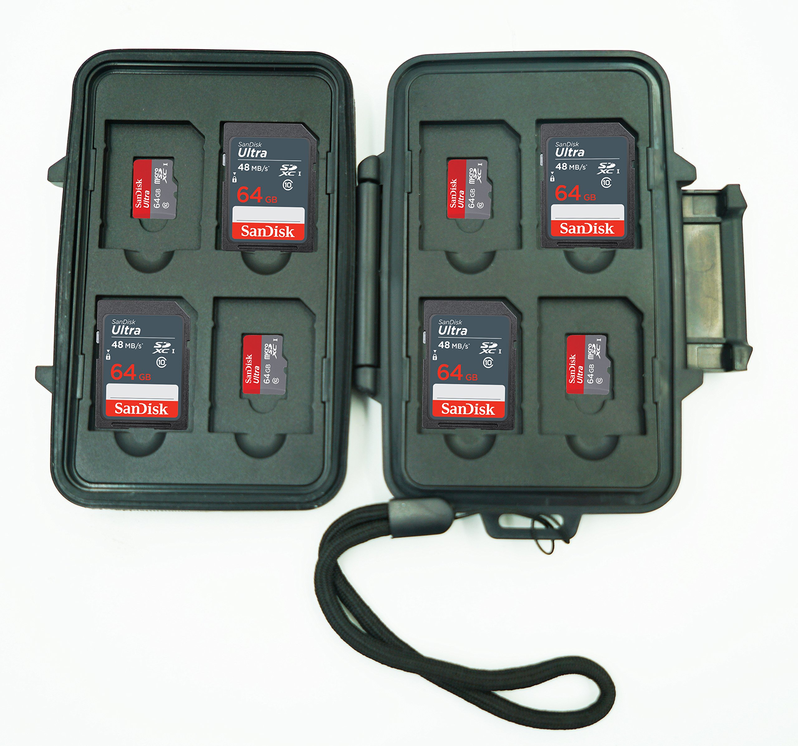 SD and Micro SD Memory Card Case, Sleek Heavy Duty Design. Water Proof up to 50 Feet and Shock Proof. Holds up to 16 cards total Come with a lanyard.
