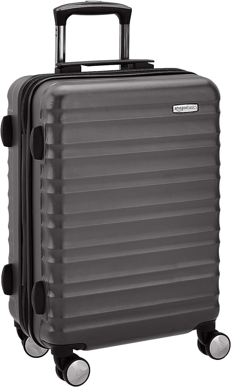 AmazonBasics - Maleta rígida de alta calidad, con ruedas y cerradura TSA incorporada, 55 cm, negro, apto para la mayoría de las aerolíneas de bajo coste