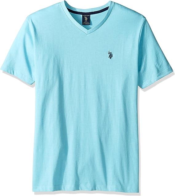 U.S. Polo Assn. Mens V-Neck T-Shirt, Artist Aqua Heather, S ...