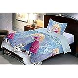 Uber Urban Disney Frozen 80 TC Microfibre Single Bedsheet and Pillow Cover - Abstract, Multicolour