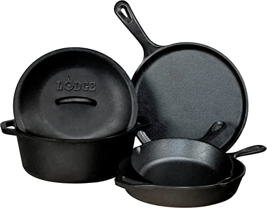Seasoned Cast Iron Skillet Dutch Oven Griddle Gourmet Kitchen Cookware Combo 5pc