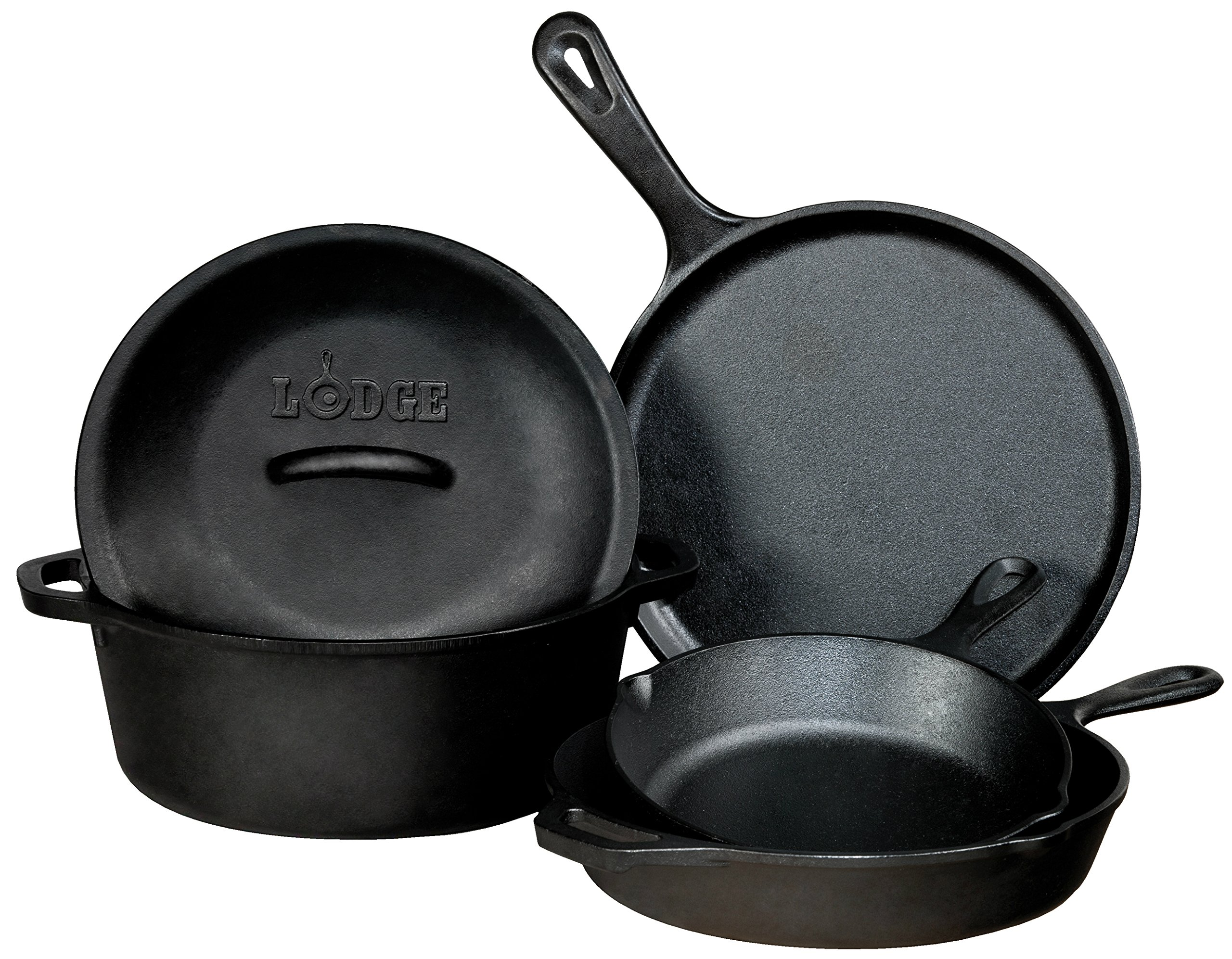"Lodge Seasoned Cast Iron 5 Piece Bundle. 10.5"" Griddle, 8"" Skillet, 10.25"" Skillet, 10.25"" Dutch Oven, and 10.25"" Lid by Lodge (Image #1)"