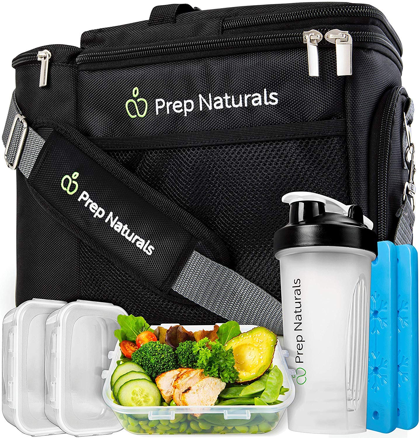 Meal Prep Bag Meal Prep Lunch Box - Meal Prep Insulated Lunch Bag for Men - Meal Prep Cooler Bag with Containers - Insulated Mens Lunch Box for Men Lunch Bags for Women Men's Lunch Bag For Work Adult by Prep Naturals