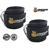 Ankle Straps for Cable Machines by DMoose Fitness - Strong Velcro, Double D-Ring, Adjustable Comfort fit Neoprene - Premium Ankle Cuffs to Enhance Abs, Glute & Leg Workouts