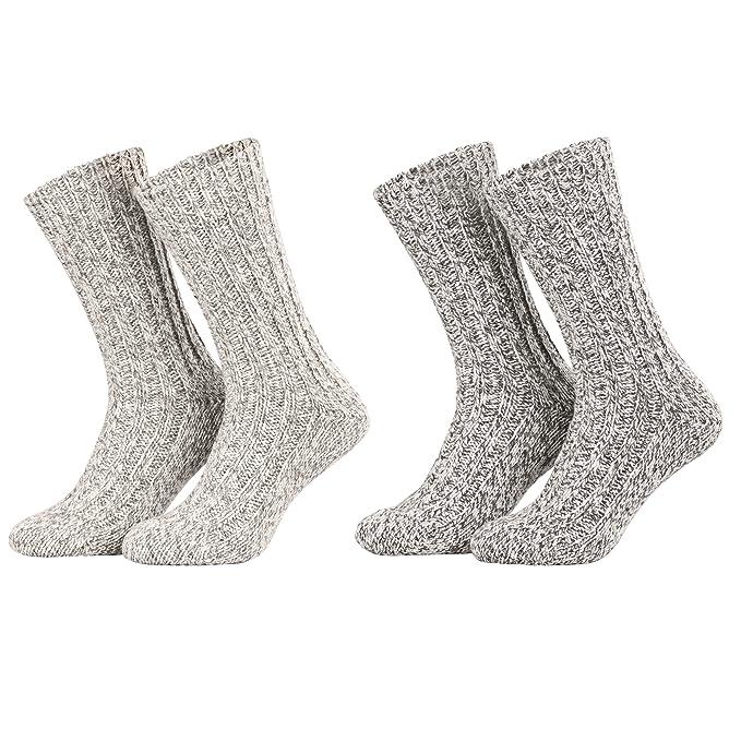 Piarini - 4 pares de calcetines noruegos muy cálidos - Gris jaspeado - 35-38
