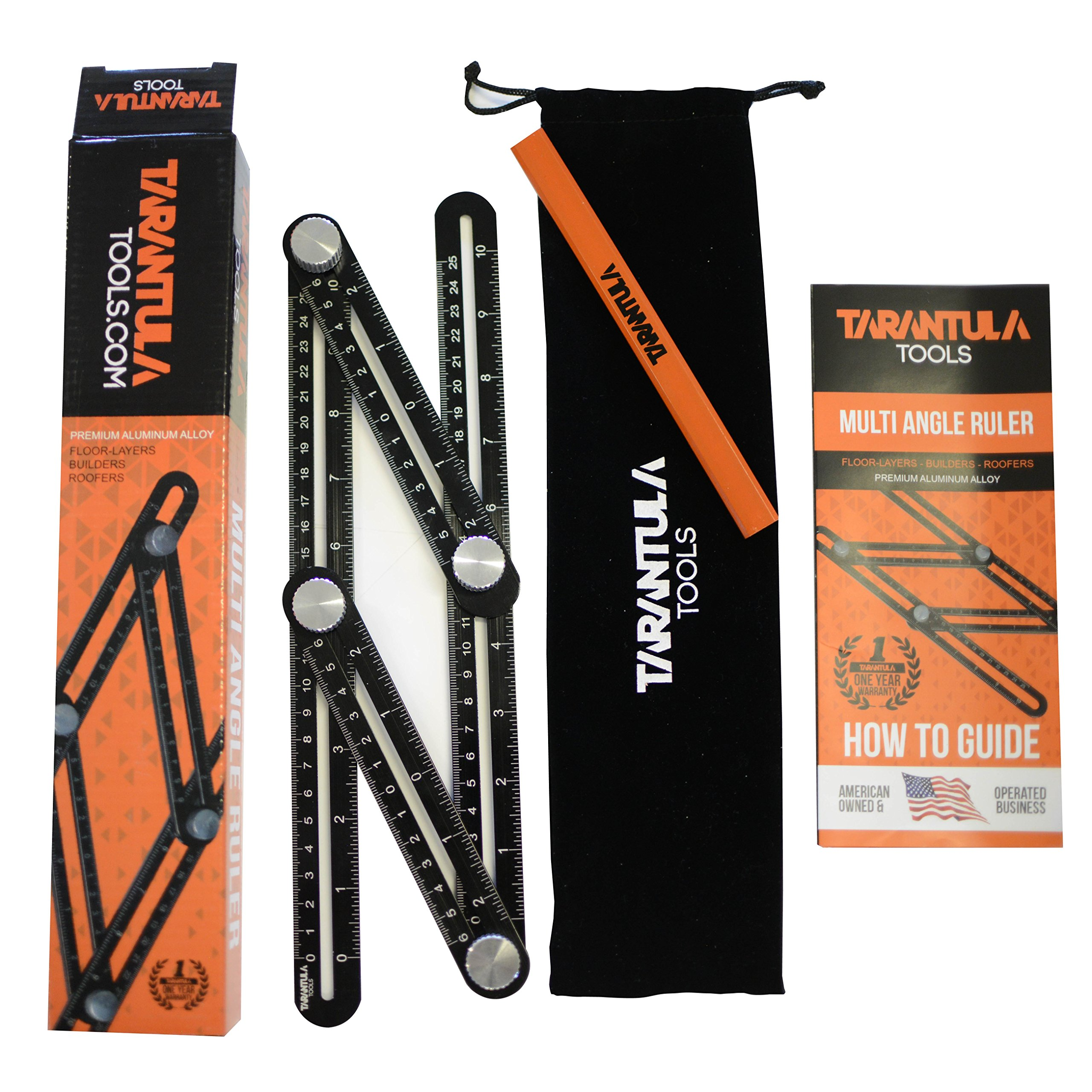 Tarantula Tools Angleizer Ruler 2 PACK - Angle-izer Template Tool - Black Aluminum Adjustable Angleizer - Angle Tool - All Metal No Plastic - Easily Set The Right Measurement, Angles
