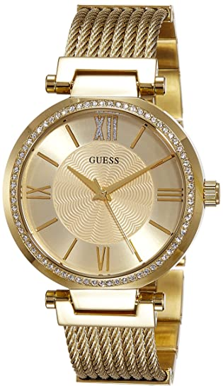Amazon.com: Guess Soho Gold Dial Stainless Steel Ladies Watch W0638L2: GUESS: Watches