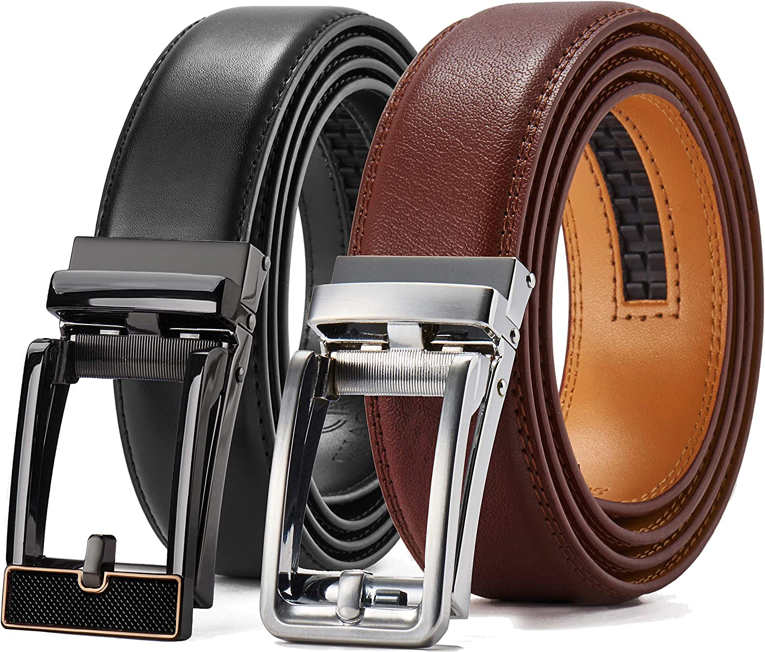 "Leather Ratchet Dress Belt 2 Pack 1 3/8"", Chaoren Click Adjustable Belt Comfort with Slide Buckle, Trim to Exact Fit"