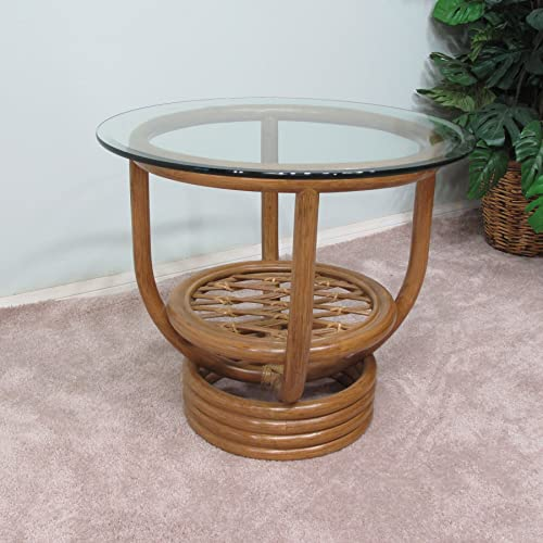 Premium Rattan End Side Table Honey Finish Delivered Fully Assembled
