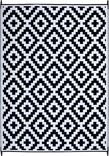 FH Home Indoor Outdoor Recycled Plastic Floor Mat Rug RV Camping Rugs, Great for Beach, Camping Trips, Picnics Lightweight – Aztec – Black White 9 ft x 12 ft – Foldable