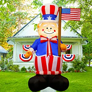 Twinkle Star 6FT Patriotic Inflatable Lighted Uncle Sam Hold American Flag, Blow Up Independence Day 4th of July Indoor Outdoor Memorial Day Decor Lawn Yard Home Celebration Garden Party Decorations