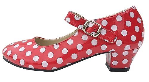 MADE IN SPAIN Zapato Baile sevillanas Flamenco Lunares Blancos Para Niña o Mujer Danka EN Rojo T1551 Talla 33 sRtEtWbe