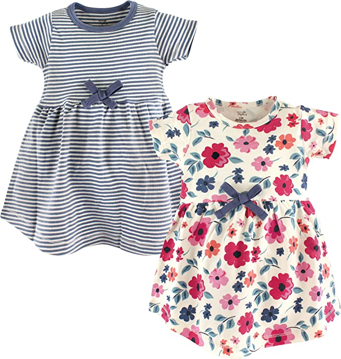 Touched by Nature Girls and Baby Organic Cotton Short-Sleeve Dresses Garden Floral 12-18 Months Toddler