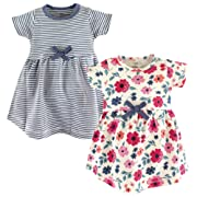 Touched by Nature Baby Girls' Organic Cotton Dress, Floral Stripe Short Sleeve 2-Pack 0-3 Months (3M)